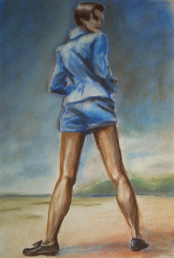 mode,malerei,blaue jacke und shorts