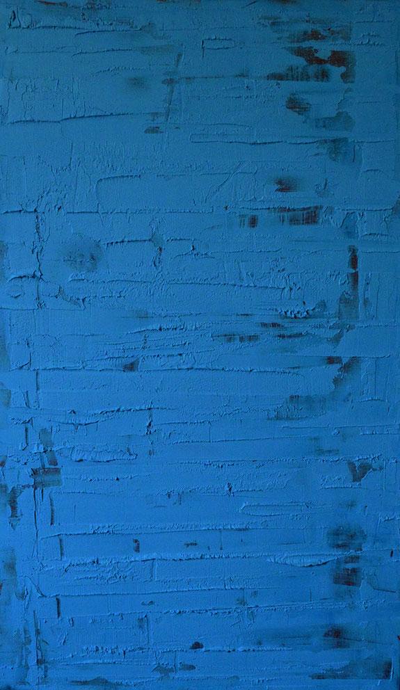 Onde azzurre.Acrilico e gel su legno.100x60.2015