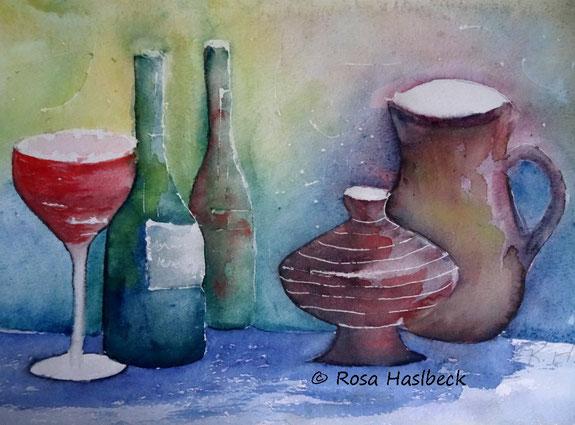 Stillleben , flaschen, krüge, aquarell, stilllebenaquarell, malen, bild, kunst, dekoration, malen, wandbild, handgemalt