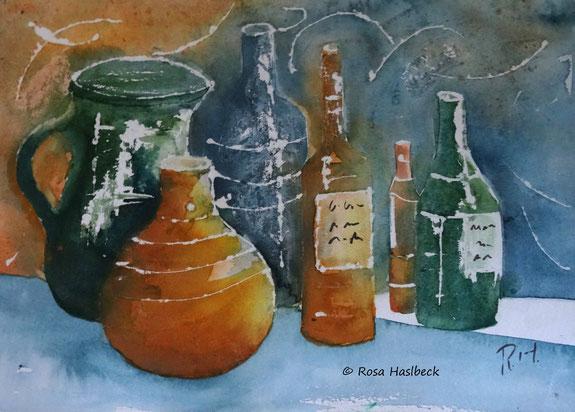 stillleben, aquarell ,stilllebenaquarell, kunst, malen, vase, flasche, krug, bild, geschenkidee, wandbild, malen
