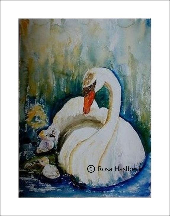 aquarell, tieraquarell, schwan, tiere, bild, kunst, bild, weiß, blau, wasser