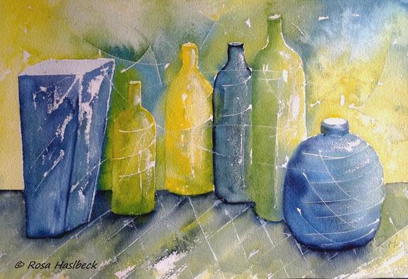 aquarell, stillleben, vase, flaschen, kerze, gelbgrün, blau, , bild, handgemalt,  kunst, bild, wanddekoration, geschenkidee, dekoration, wandbild, art, malen, malerei