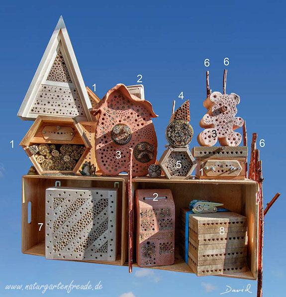 Insektenhotel Insektennisthilfen Nisthilfen Naturgartenbalkon Balkon Beobachtungsnistkästen