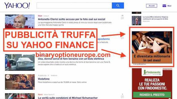 pubblicità banner truffa su yahoo finance italia