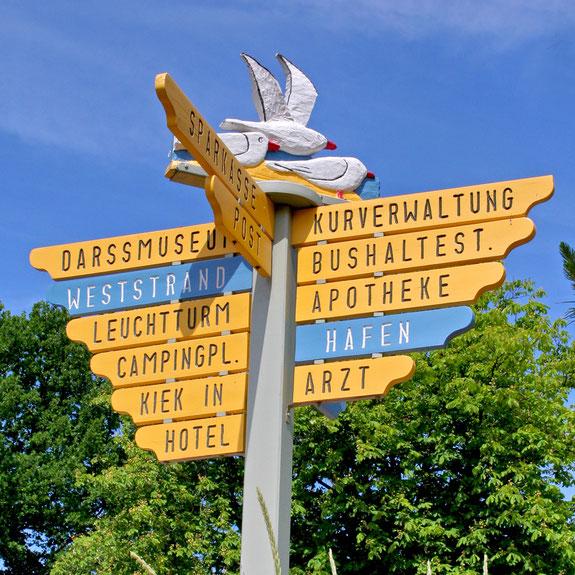 Wegweiser Ostseebad Prerow - Wo soll es hingehen?