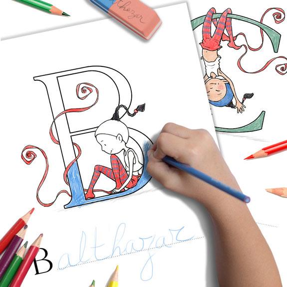 Coloriage alphabet, Abécédaire de Timeliot