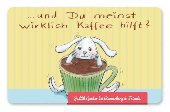 Mitbringsel Frühstück, Frühstücksbrettchen - Hase - Und du meinst wirklich Kaffee hilft? - Judith Ganter Illustration und Spruch - bei Rannenberg & Friends