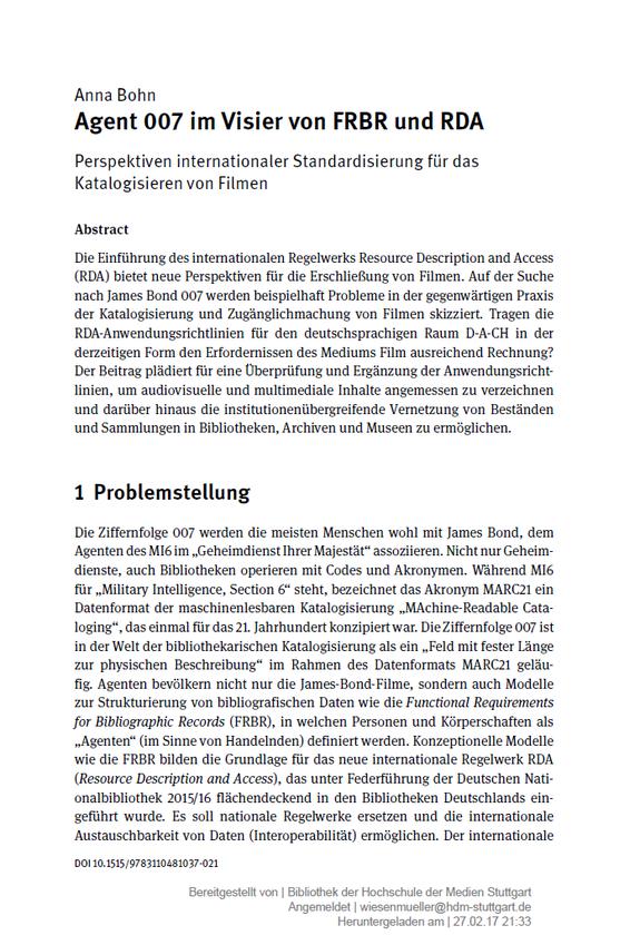 Der Beitrag von Anna Bohn in der Festschrift für Petra Hauke