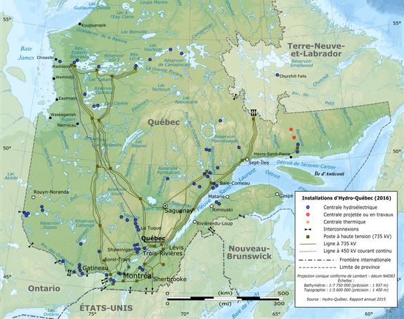 Réseau électrique haute tension d'Hydro-Québec TransÉnergie et interconnexions
