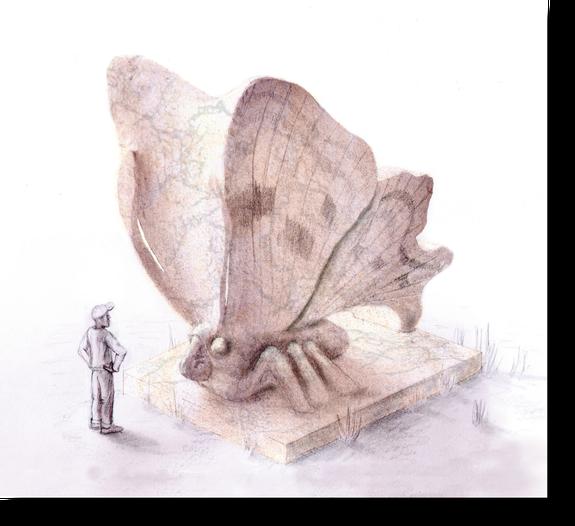 Schmetterling von gigantischer Größe. Schmetterling aus Stein. Schmetterling als phantastische Skulptur. Schmetterlingskulptur Entwurf des Bildhauers Gunter Schmidt.