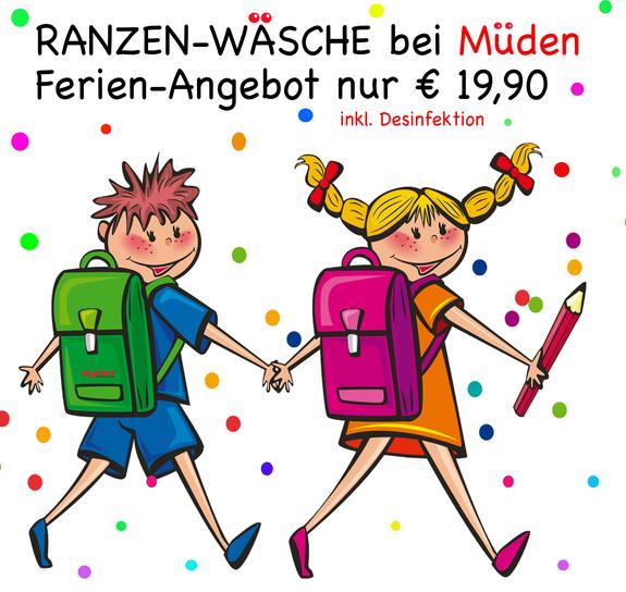 mueden.de, Leistungen, Ranzenwäsche, gemaltes Bild von 2 Kindern mit Ranzen
