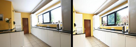 Immobilienfoto: Gegenüberstellung eines Küchenfotos vor und nach der Bearbeitung