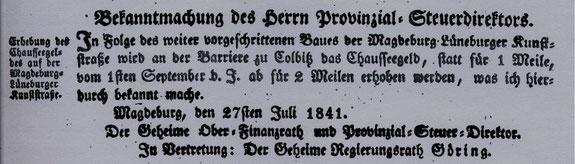 Abbildung aus dem Amtsblatt der Königlichen Regierung vom 27.7.1841