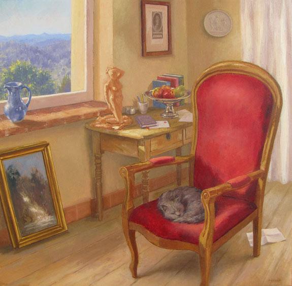 Tony Wahlander (Wåhlander) Interieur: Chat dormant sur un fauteuil de velour rouge à dossier arrondi des objets forment une naure morte sur une table et à travers une fenêtre on découvre un paysage.