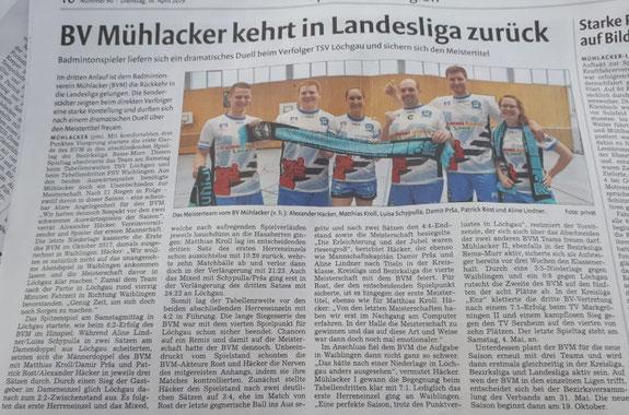 BV Mühlacker wird Bezirksmeister 2018/19