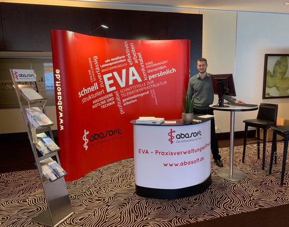 abasoft EDV-Programme GmbH EVA elektronisch verwaltete Arztpraxis Messe Vertrieb Messestand Popup Stand