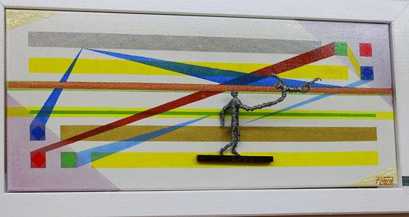 Zuversichtlich begibt sich hier, eine meiner in zahlreichen Bildern integrierten Drahtskulpturen, in eine miteinander verbundene Abhängigkeit. Helle Farben und Lacke mit einer gelben Dominanz.