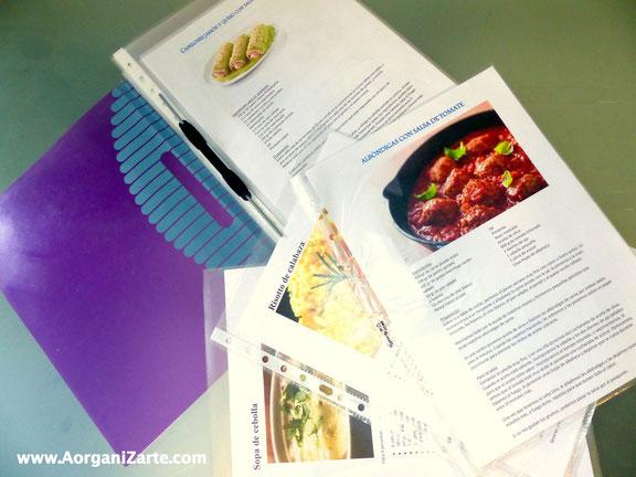 Prepara una carpeta con tus recetas favoritas - AorganiZarte