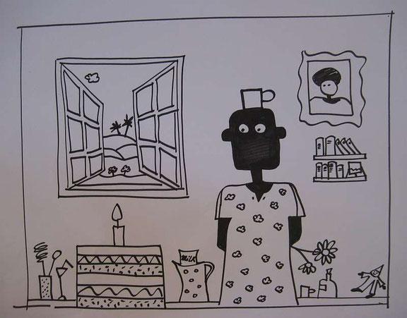 Mein Geburtstagskuchen, Zeichnung, Edding auf Papier