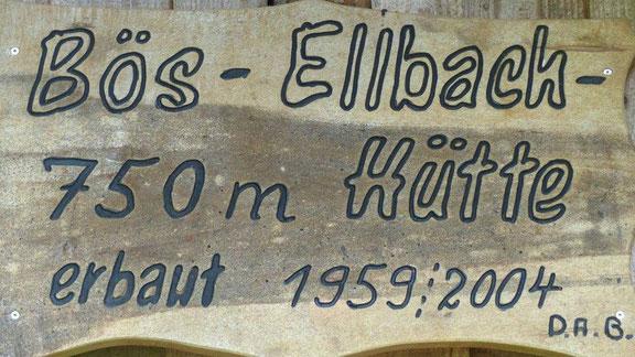Schild von der Bösellbach Schutzhütte