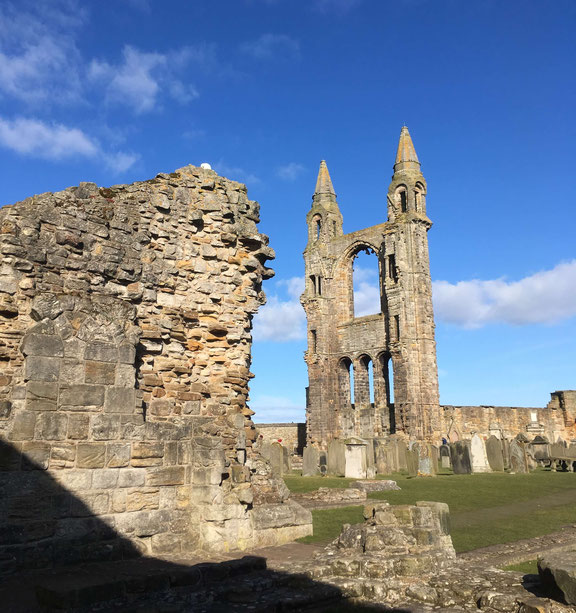 The ruins of St. Andrews Cathedral bathed in sunshine