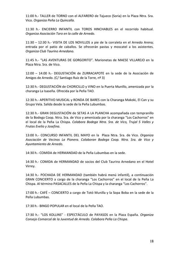 Fiestas de San Cosme y San Damián en Arnedo Programa