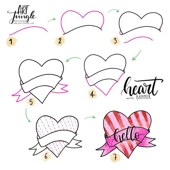 Heart Doodle - How to draw - Schritt für Schritt Anleitung - Malanleitung - Sketchnotes - Bullet Journal