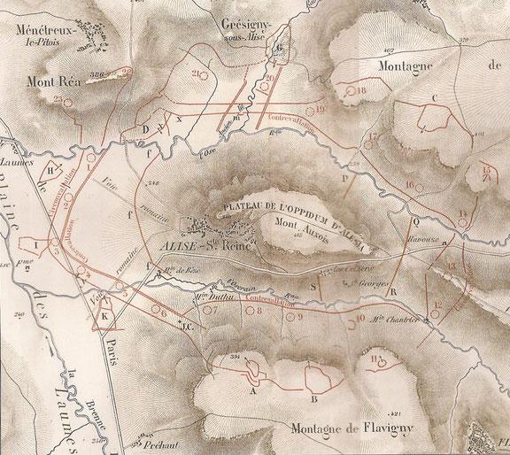 Carte 4 : Plan d'Alésia, publié par Napoléon III dans son Histoire de Jules César en 1866