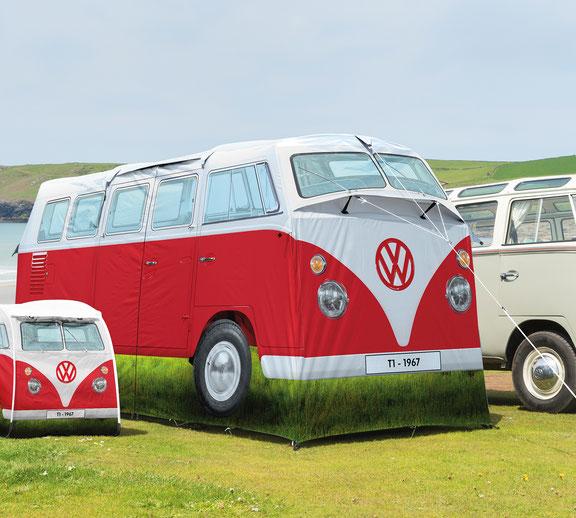 Kultiges Campingzelt im Design des VW T1 Bullis,4-Personen-Zelt,Fliegengitter