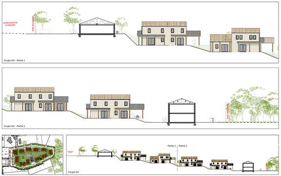 Plan en coupe du projet d'habitat participatif de Haux