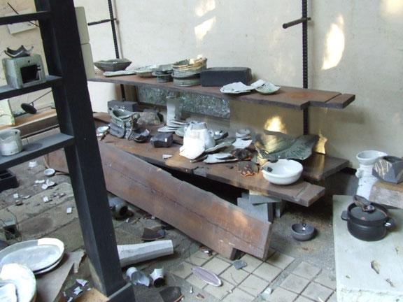 陶芸家 ブログ 茨城県笠間市 焼き物 東日本大震災 3・11 割れた陶器 被害 黙とう