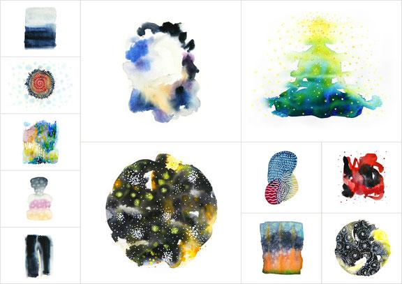 Sylvie Lander-HIMMELSGÀRTE - JARDINS CÉLESTES, aquarelle, Éditions LIRE-OBJET, 2020 ©sylvie lander-PEINTURE-AQUARELLES-EDITION