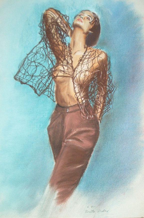 mode,malerei,durchbrochenes gewirke,braun,hintergrund blau