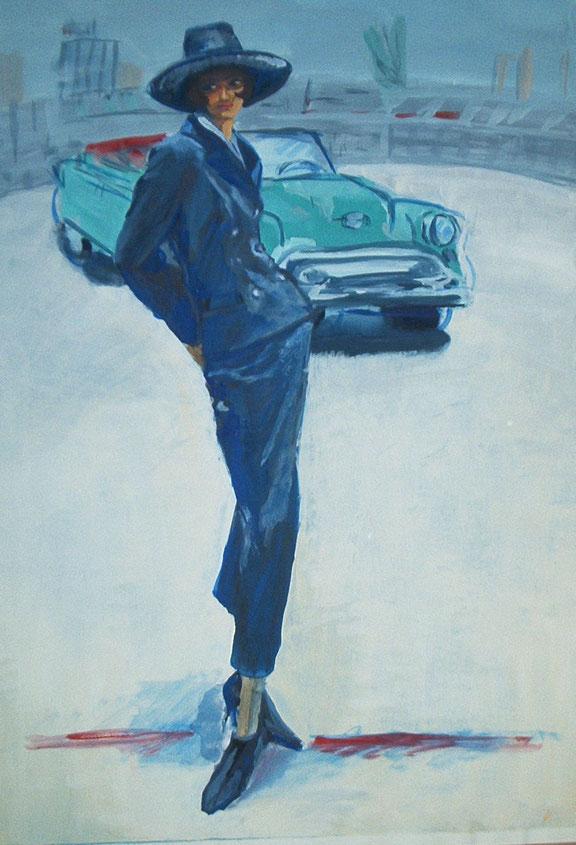 mode,malerei,blaues,kostüm,auto,caprio