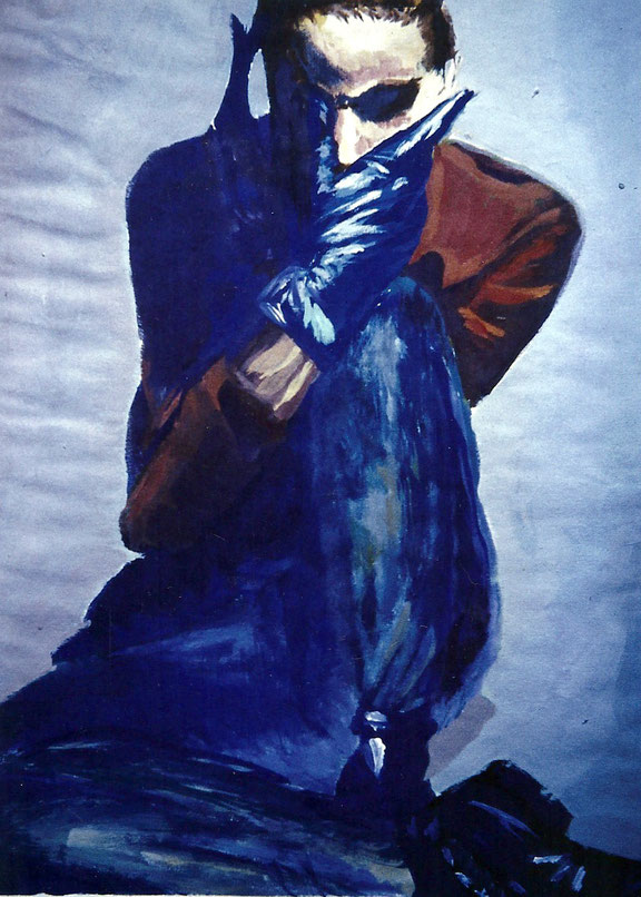 malerei,handschuhe,blau,mode