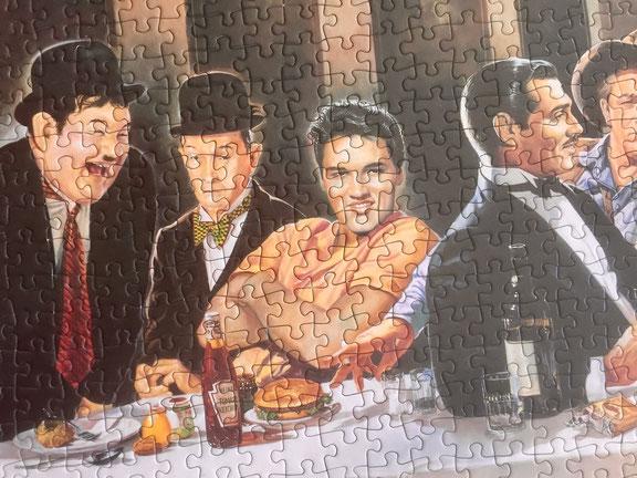 Puzzle eingerahmt mit entspiegeltem Weissglas.