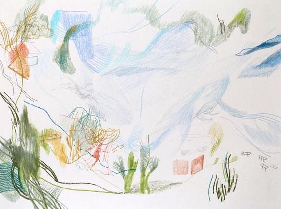 Rotes Haus . 2016 . Bleistift , Farbstift, Wachskreide auf Papier . 30 x 40 cm