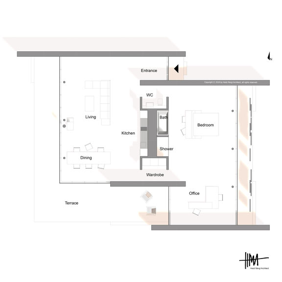 Modern room divider house floor plan by Heidi Mergl Architect open plan living