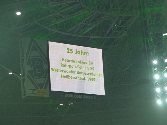 Unser Fanclubname auf der Anzeigetafel im Borussia Park