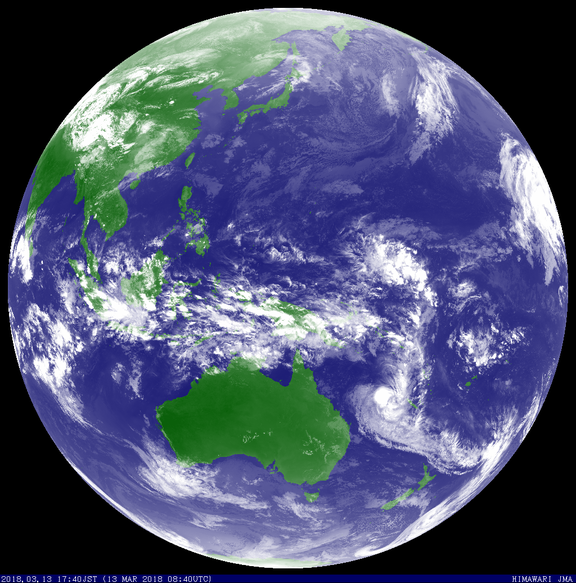 Colourised satellite image of Tropical Cyclone Linda, 13/03/2018. Image from JMA.