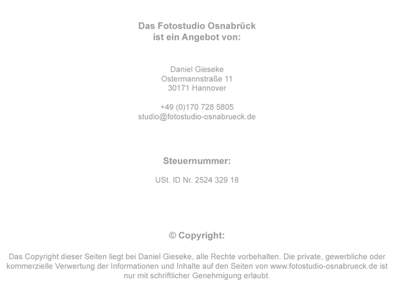 Impressum Fotostudio Osnabrück