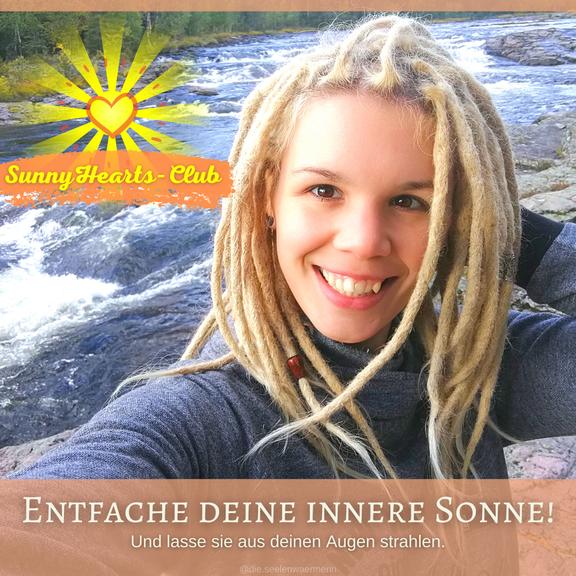 Komm in meinen SunnyHearts-Club und entfache deine innere Sonne mit wöchentlichen Meditationen, positiven Affirmationen und Übungen für mehr Happiness und Selbstliebe.