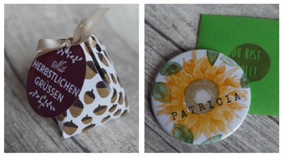 Tricky herbstliche Box von Anette und ein Button mit Namen von Veronika