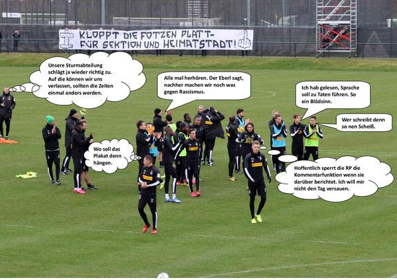 Borussia Mönchengladbach gegen Rassismus.    Fotzen und anderes Gesocks.