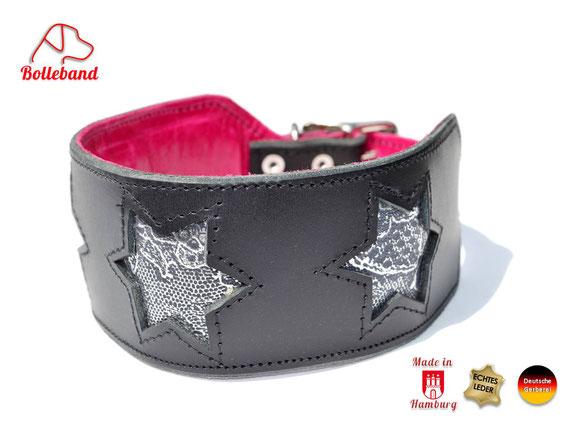 Windhundhalsband Leder schwarz mit silbernen Sternen und pinkem Futterleder Bolleband
