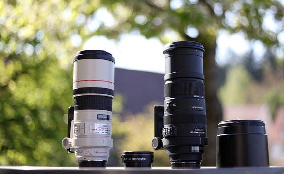 das Canon 300mmf4 im Test neben dem Sigma 150-500
