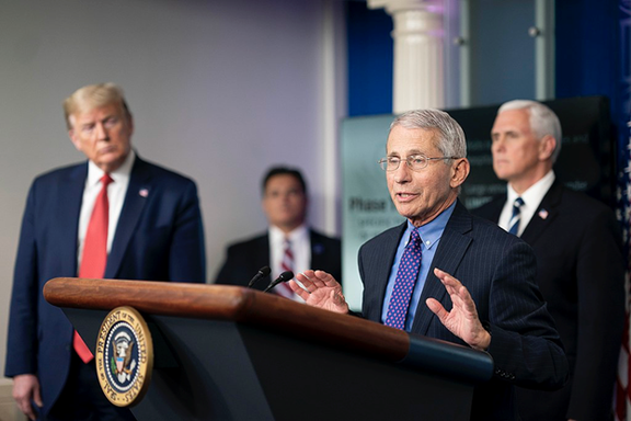 Fauci speaking at a White House Coronavirus briefing, 16 April 2020, Official White House Photo by Andrea Hanks, https://www.flickr.com/photos/whitehouse/49784743606/in/photostream/