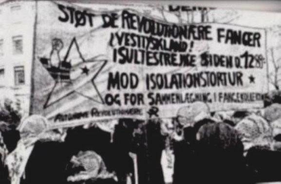Autonom solidaritet med de sultestrejkende politiske fanger i Tyskland, København, foråret 1989