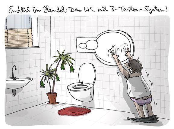Cartoon von H. Mercker über spektakuläre Neuerungen im Sanitärbereich