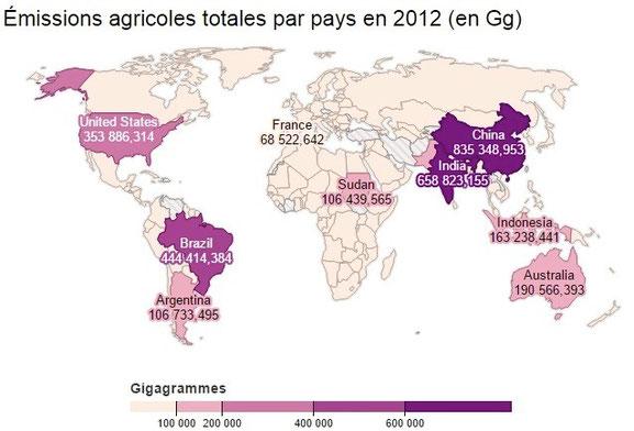 Emission de GES mondiales. Source : http://reporterre.net/Climat-l-agriculture-est-la-source